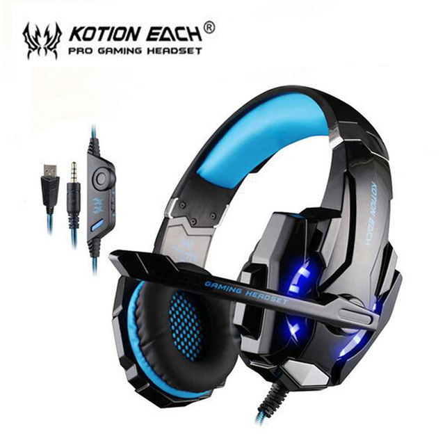 Kotion each g9000 wired gaming headset auriculares auriculares con micrófono led para laptop pc gamer xbox one ps4 playstation 4 equipo