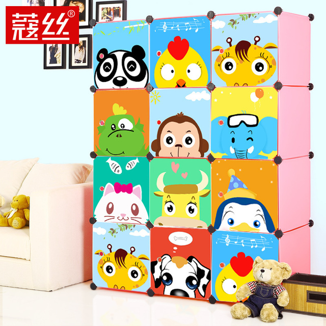 Wire child cartoon simple wardrobe baby wardrobe diy eco-friendly combination wardrobe