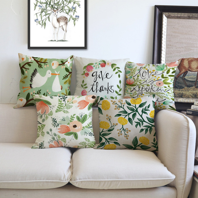 Charmant Tropical Flowers Birds Print Home Decoration Sofa Pillow Covers Pink Yellow  Floral Letters Print Thanksgiving Day