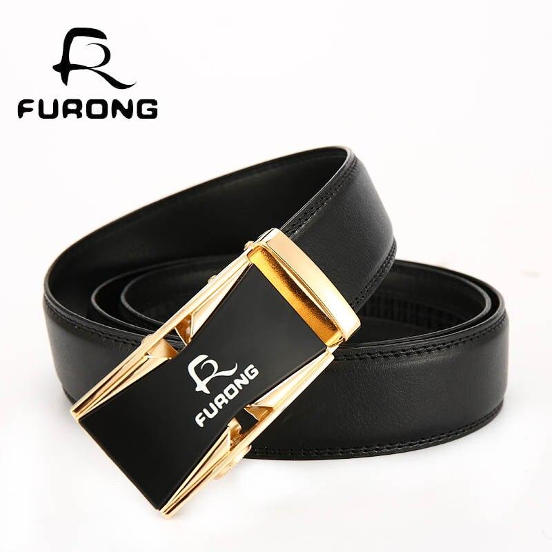 FURONG Designer Luxury Leather Mens Belts Good Quality Business Men Automatic 100% Genuine Belt
