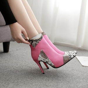Image 2 - Boussac مثير الأفعى طباعة عالية الكعب النساء الأحذية بووتي حذاء من الجلد للنساء رقيقة كعب النساء الأحذية SWE0588
