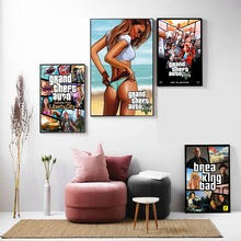 GTA 5 Game Vintage Canvas Art Print Painting Poster Wall Pictures For Home Decoration Decor new Year gifts No Frame