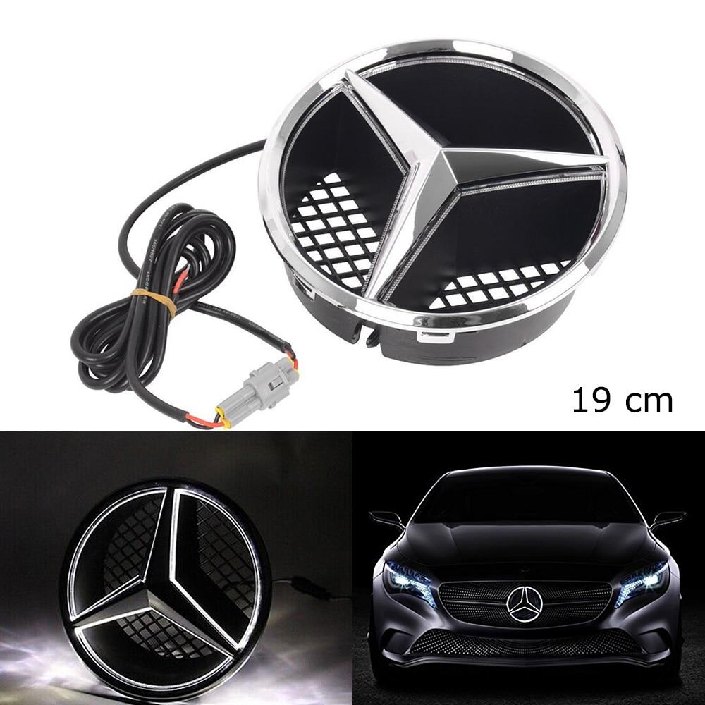 SITAILE Auto HA CONDOTTO LA Luce Griglia Anteriore Star Logo Emblema Distintivo per Mercedes Benz Hood Ornament Emblem Formato 19 cm/ 7.48 pollice snap-in