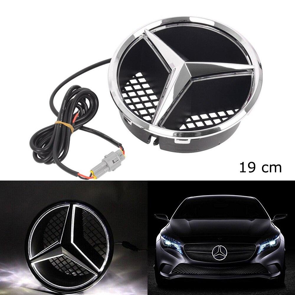 SITAILE Auto LED Licht Kühlergrill Stern Logo Emblem Abzeichen für Mercedes Benz Hood Ornament Emblem Größe 19 cm/ 7,48 zoll snap-in