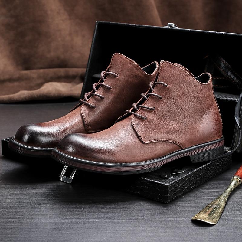 Männer Reiten casual stiefel neue Echtem Leder Britische allgleiches rindsleder jugend Chelsea stiefel herbst winter atmungs sneaker auf   3