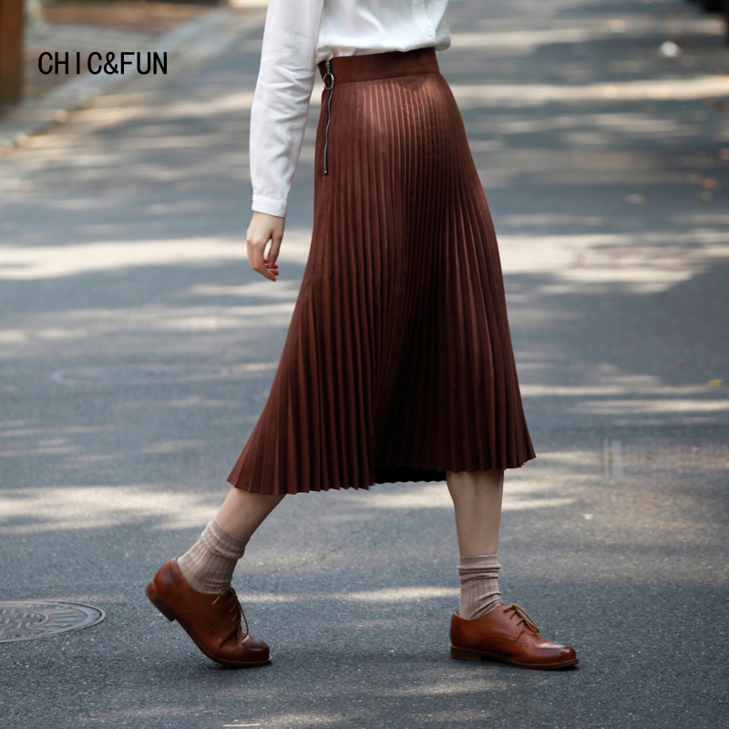 High Quality Women Suede Vintage Pleated Skirt Brown Color 2018 Spring The a-line Skirt High Waist Brand Long Skirt