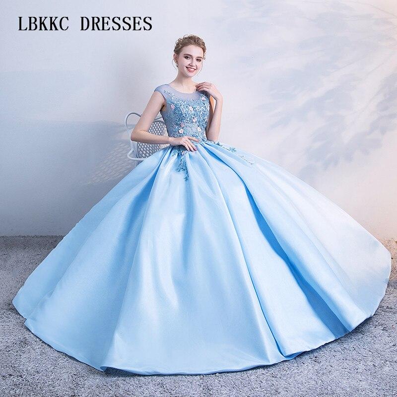 Gutherzig Blau Quinceanera Kleider Ballkleid Tüll Mit Spitze Scoop Vestidos De 15 Anos Bodenlangen Vestido Debütantin 15 Anos Weddings & Events
