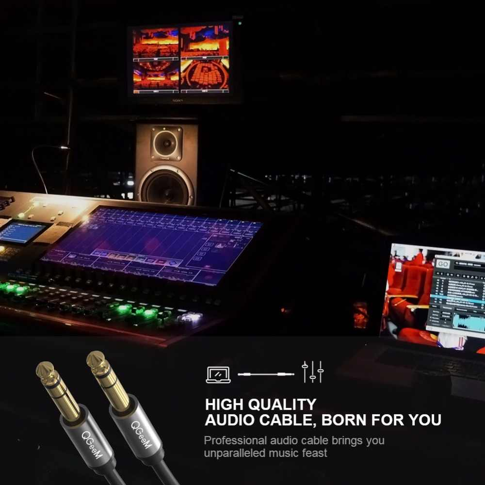 QGeeM 6,5 мм 6,35 мм Jack аудио кабель 6,35 Jack штекер-штекер Aux кабель 1 м 2 м 3 м для гитары миксер усилитель баса 6,35 мм Aux кабель