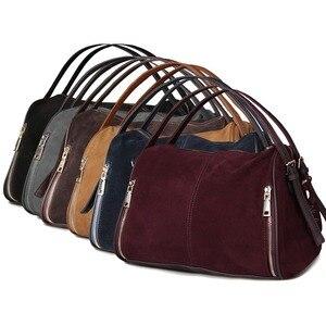 Image 5 - Nico Louise Phụ Nữ Bất Chia Da Lộn Da Boston Bag, Túi thiết Kế ban đầu Phụ Nữ Vai Đi Du Lịch Bác Sĩ Túi Xách Top xử lý Túi Sac