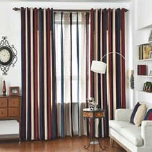 Custom Made Vertical Stripe Curtains Chenille Curtains Tulle Living Room Eco-Friendly Curtain Luxury Mediterranean Style Curtain
