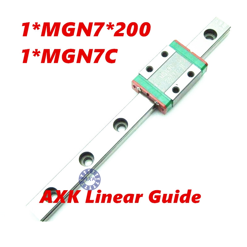 CNC part MR7 7mm linear rail guide MGN7 length 200mm with mini MGN7C linear block carriage miniature linear motion guide way china quality guideway precision linear guide rail mgn7 length for 300mm with 2pc carriage mgn7c