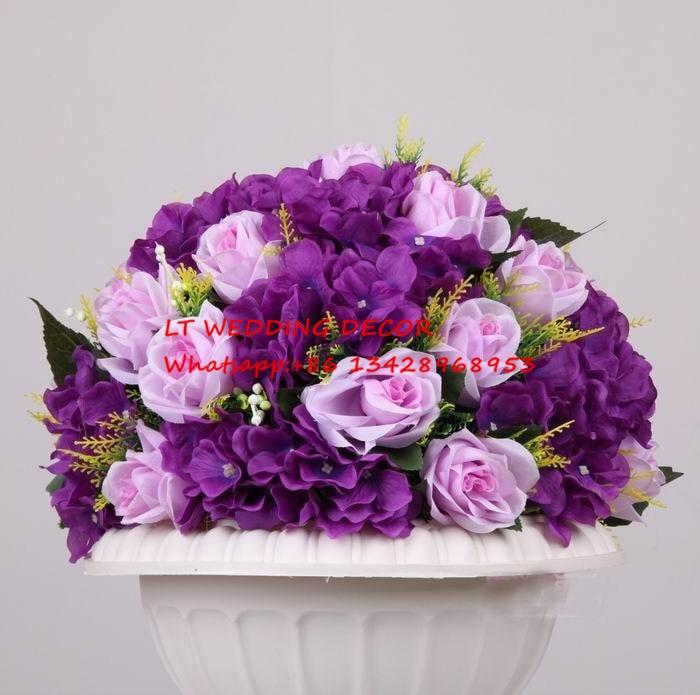 10pcs/lot Purple Wedding Table Decoration Road Lead Artificial Wedding Table  Flowers Centerpiece Flower Balls Part 42