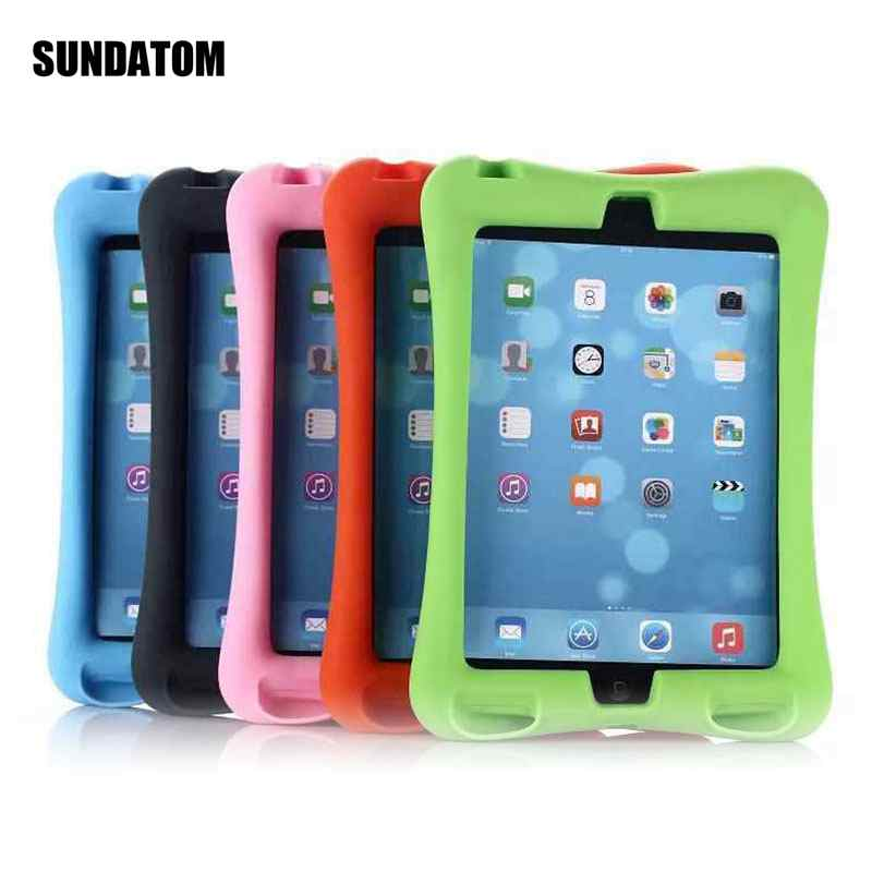 Shockproof Case For ipad Mini 4 Kid Safe Soft Silicone Cover Durable Stand Protective Shell With Loudspeaker
