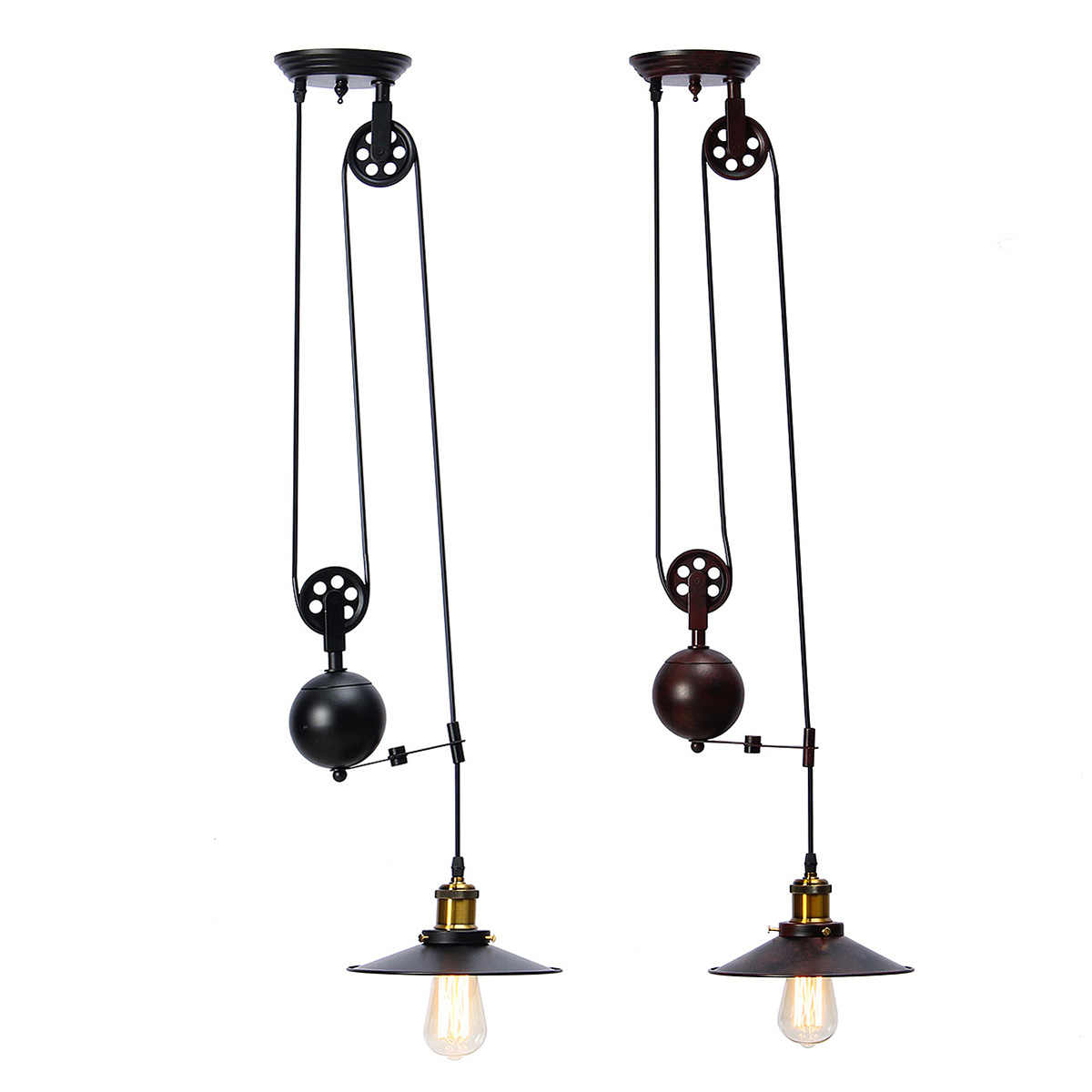 AC110-240V E27 Single Vintage Loft Retro Pendant Light Sconce Hanging Pulley Lamp Fixtures Restaurant Bar Home Decoration
