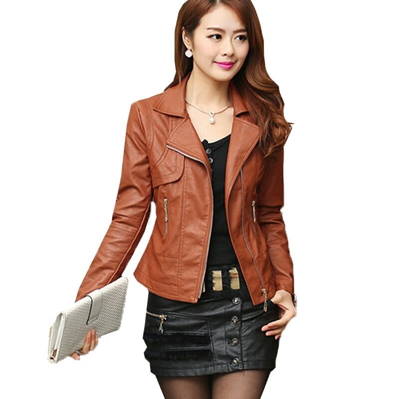 Autumn Women's Fashion Pu   Leather   Jacket Slim Lapel Motorcycle Outwear Roupas De Couro Femininos Elegant Punk Coat Plus Size 4XL