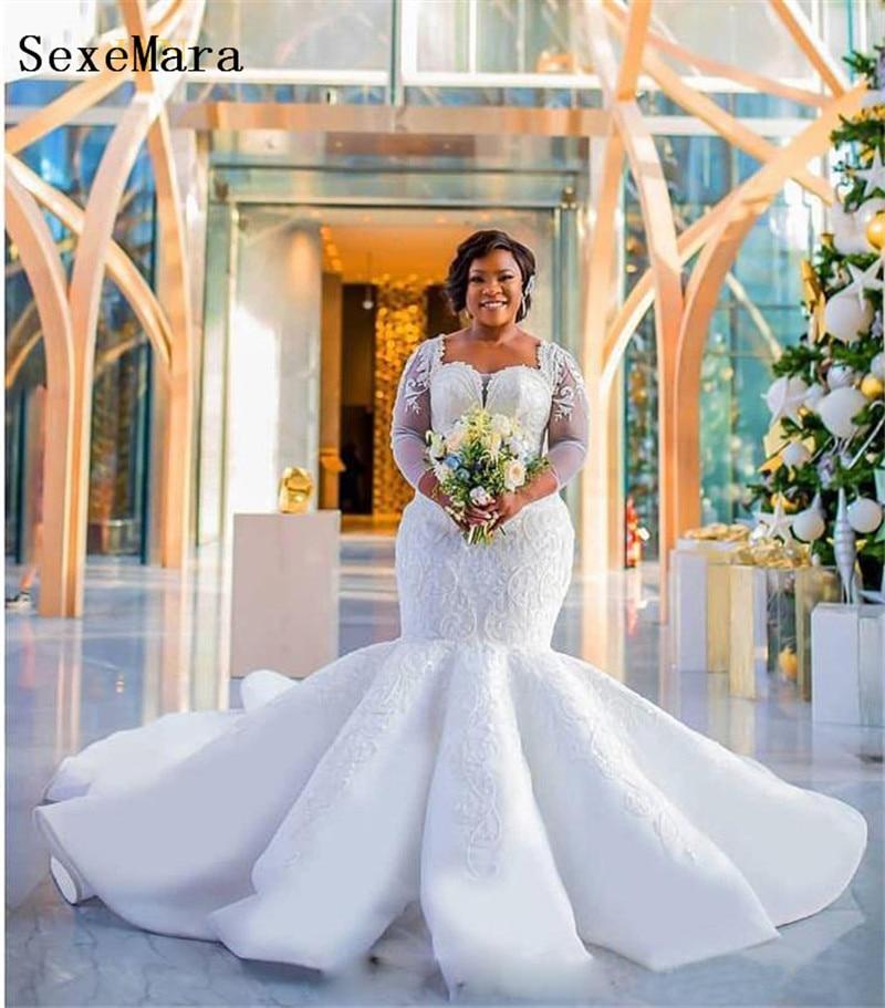 Cheap White Ivory Wedding Dresses Mermaid Lace Appliques: Gorgeous Plus Size Mermaid Wedding Dress Sparkle Sequins
