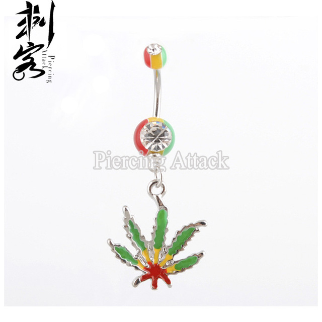 Us 12 0 Rasta Pot Leaf Jamaican Dangling Navel Piercing Gem Belly Ring Body Jewelry On Aliexpress Com Alibaba Group