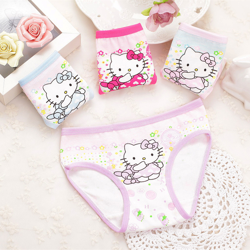 4piece/LOT Girls Underwear Cartoon Panties Briefs Child Under Wear Children Pants Kids  Cotton Underware