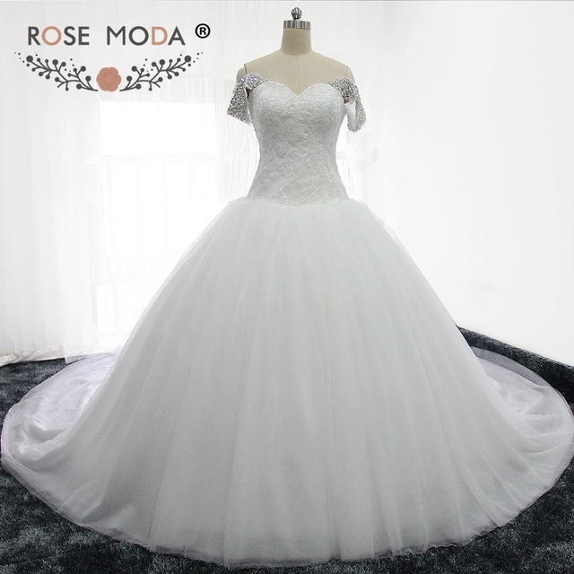 Rose Moda Luxury Puffy Wedding Ball Gown Princess Tulle Wedding ...