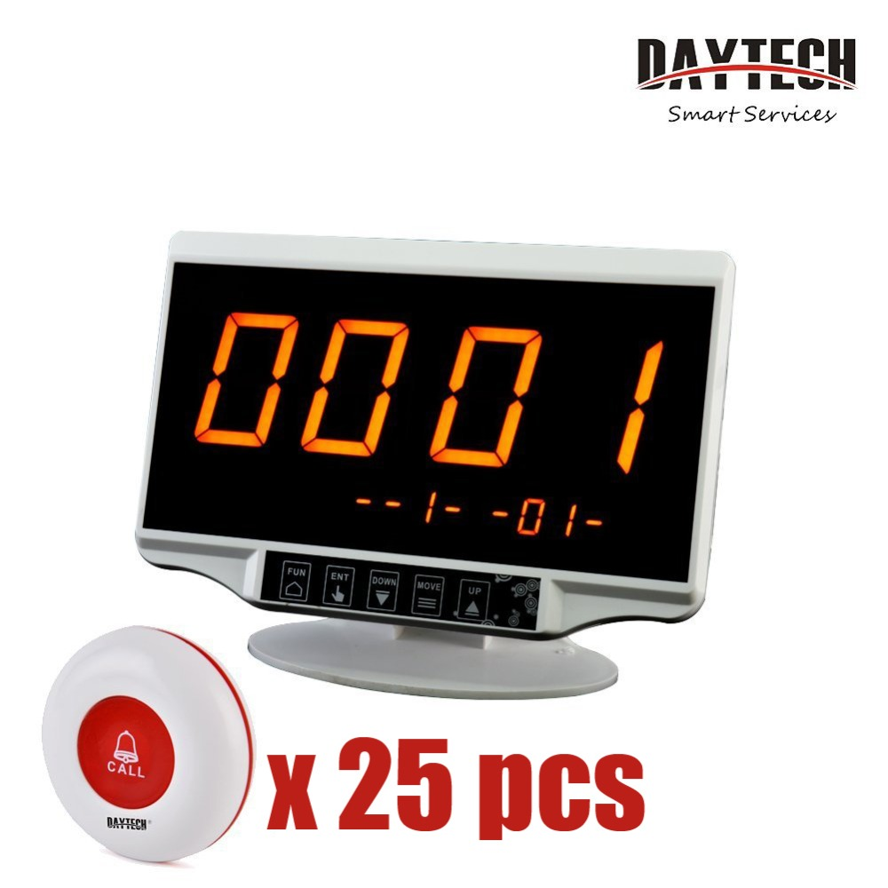 DAYTECH Restaurant Paging System Wireless Calling System Waiter Caregiver Pager 1PC LCD Display 25PCS Waterproof Call Buttons