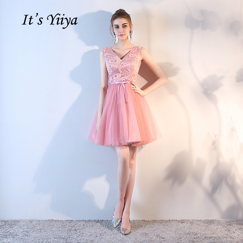 It's Yiiya 2018 New Blue Gray Champagne Bean Color Tulle V-Neck A-line Cocktail Dresses Simple Mini Lace Formal Dress LF893