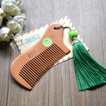 Party Favors Natural Peach Wood Mini Comb with tassel Close Teeth Head Massage Hair Care Tools Hairbrush Hairdressing Accessory 1