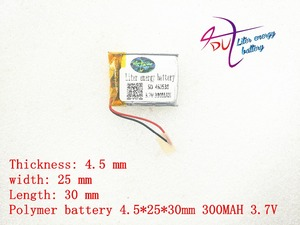 Image 3 - 3.7v lithium polymer battery 452530 300MAH MP3 MP4 Bluetooth battery clip with protection board