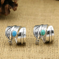 S925 Sterling Silver Retro Thai Silver Turquoise Men And Women Feathers Open Ended Ring Takahashi Kagura Goro's Jewelry