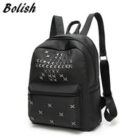 Bolish Oxford Women Backpack Fashion Rivet Girls School Backpack Ladies Black Backpack Female Travel Backpack Daypack