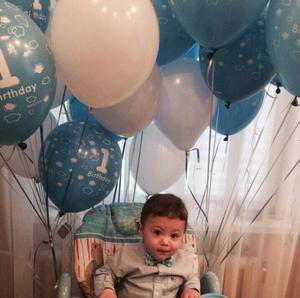Image 2 - 10pcs Baby Shower 1st Birthday Party Decor Bianco Blu Numero Aerostati della Stagnola Forniture Bambino ragazzo balls 2.2g 1 lattice elio globos