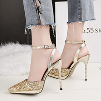 2018 Summer Woman Fetish 11cm High Heels Female Strap Sandals Scarpins Slingback Sliver Gold Sequins Pumps Lady Sexy Party Shoes