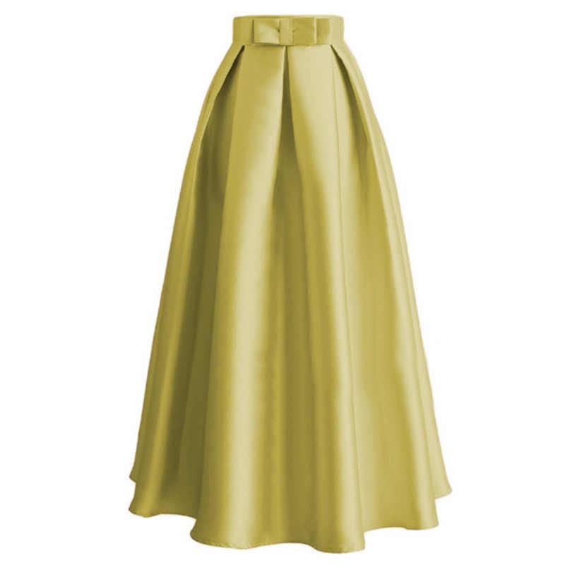 Элегантная Женская длинная мусульманская юбка макси мягкий креп расклешенная с высокой талией шелковистая однотонная хлопковая Дубайская черная полускромная Повседневная