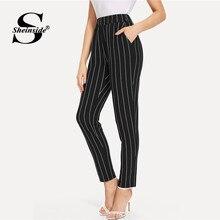 0e4a7697dc Sheinside Elastic Waist Pinstripe Cigarette Pants Black Mid Waist Tapered  Carrot Trousers Women Summer Office Ladies Pants