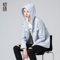 Toyouth trençkot 2017 bahar yeni kadın kat gevşek casual katı renk kapşonlu uzun kollu paltolar