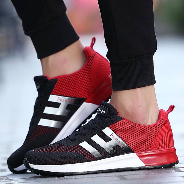 mesh breathable men casual shoes mixed color sport walking shoes flat lace up mens trainers basket - Basket Femme Color