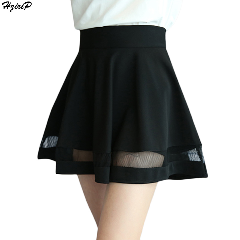 2018 Summer New Arrival Casual Women Shorts Skirts High Waist Mesh A-line Pleated Skirt Women Mini Skirt Feminina Bermudas S-XXL