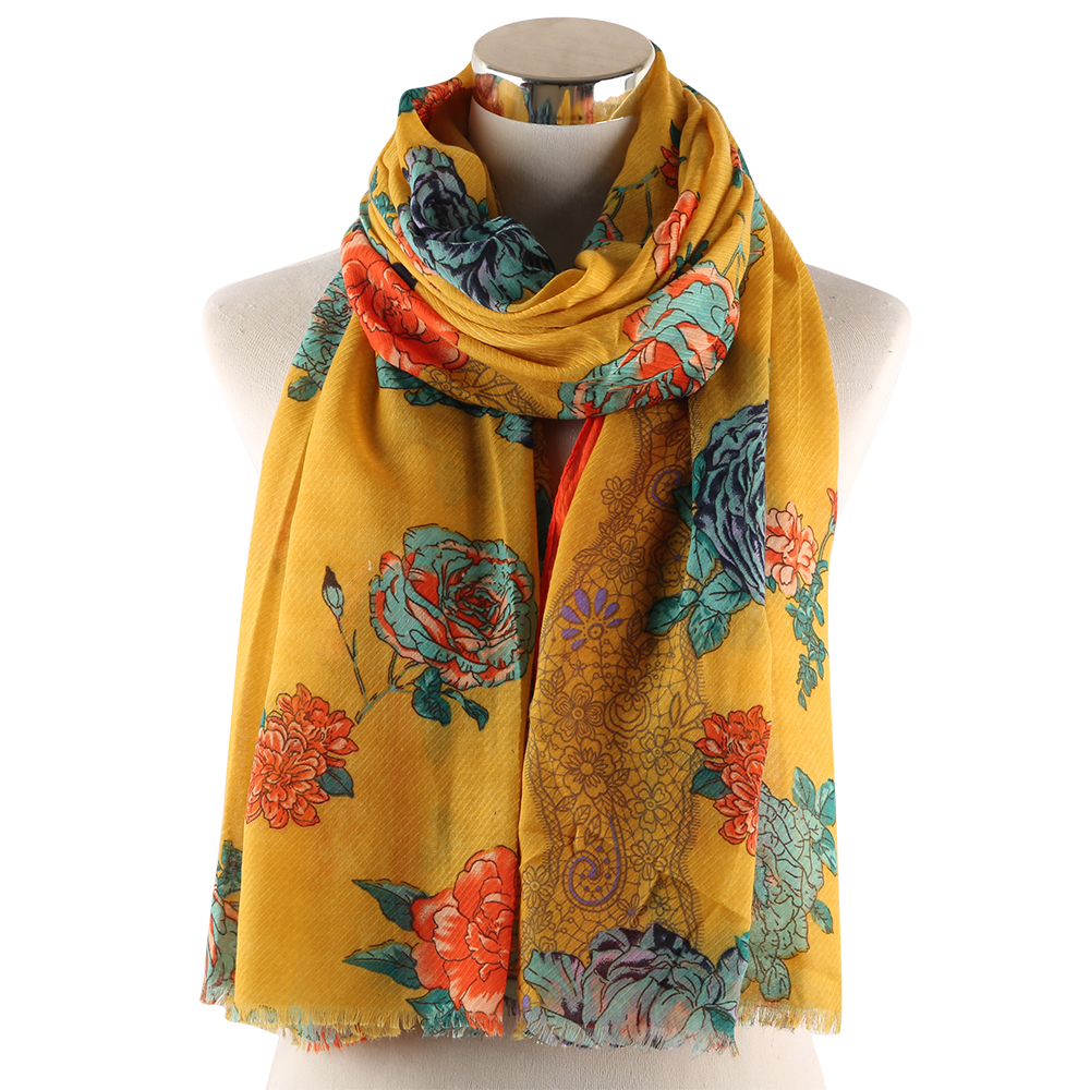 Winfox Fashion Navy Pink Yellow Soft Long Viscose Female   Scarves   and   Wraps   Hijab Floral Print   Scarf   Shawl For Women