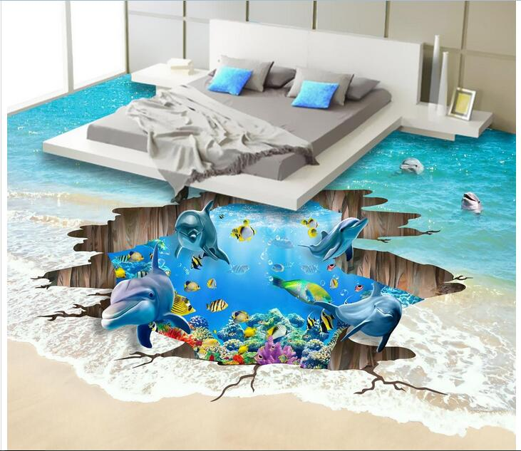 3 d flooring bedroom custom mural Waterproof floor wall paper sticker beach 3 d underwater crack photo wallpaper for walls 3d
