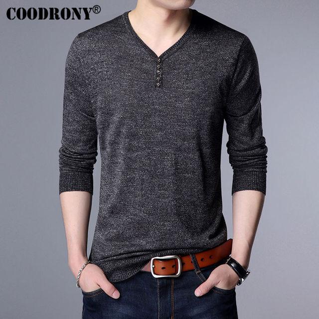 8dc73ae7e28 COODRONY Printemps Nouveau Henry Col Chandail Hommes Marque Vêtements Hommes  Laine Chandails Coton Pull Hommes Bouton