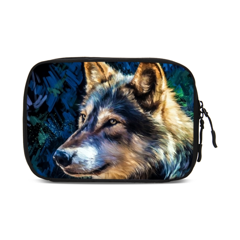 VEEVANV Wolf pattern USB Cable bag Travel Electronics Accessories Organiser Bag Large Capacity Case Cables Digital Storage Bag
