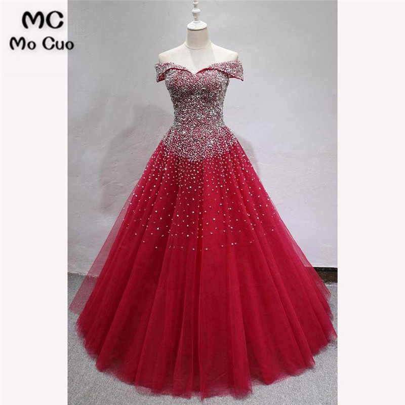 Ball Gown Elegant   Prom     dresses   Long with Beaded V-Neck Tulle   dress   for graduation Floor Length Formal Evening   Prom     Dress