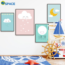 Cartoon Moon Cloud Quotes Wall Art Canvas Painting Nordic Posters And Prints Nursery Canvas Poster Wall Pictures Kids Room Decor