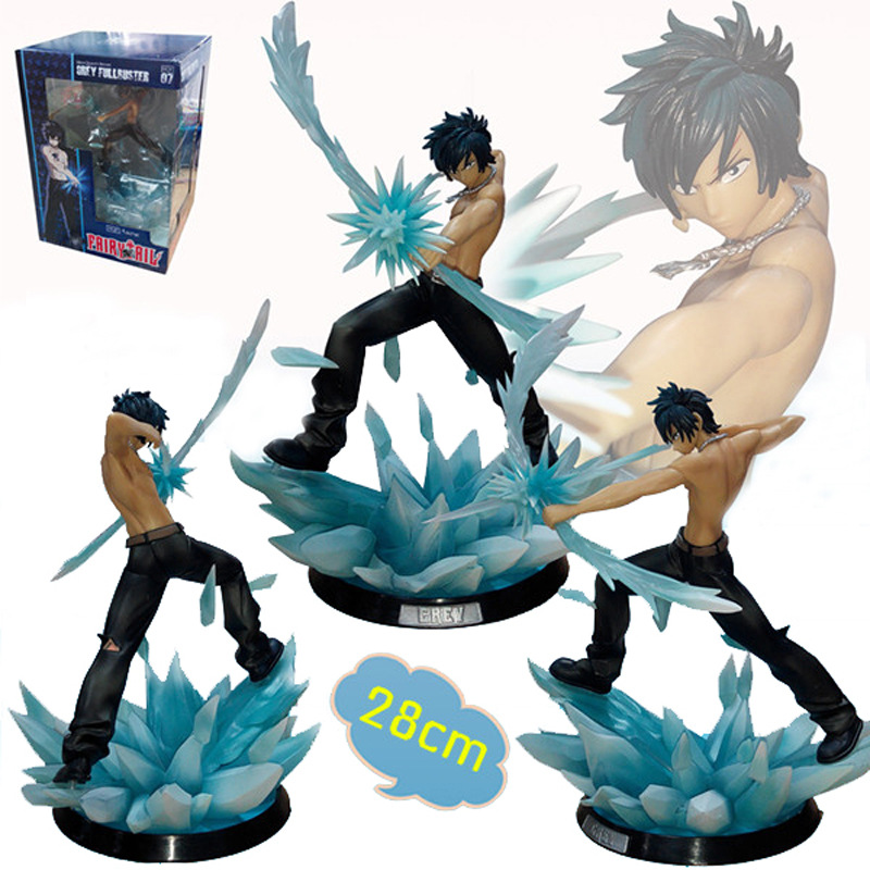 FAIRY TAIL Action Figure Gray Fullbuster Ice Magic Super Freeze Arrow Grey Battle Style 280mm Anime FAIRY TAIL Model Toys fairy tail 35