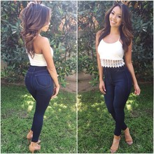 Summer new hot high waist slimming fashion jeans personality stretch Slim sexy women tight casual feet