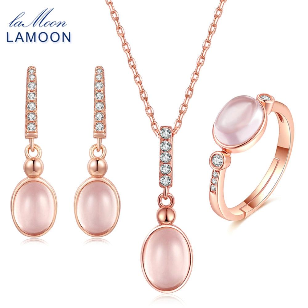 ارتفع LAMOON البيضاوي الوردي الكوارتز 925 - مجوهرات راقية