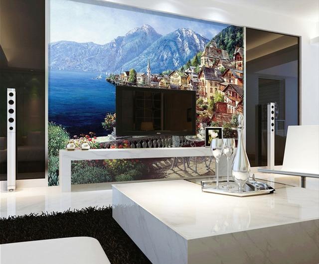 Wallpaper 3D Painting Landscape Painting Landscape Mediterranean Seaside  Cottage Sofa Backdrop Simple Design Free Shipping