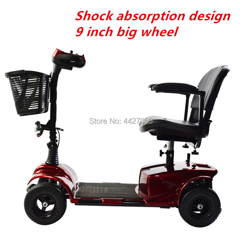 Elderly scooter four-wheeled bicycle disabled   folding portable battery car multifunction electric scooter