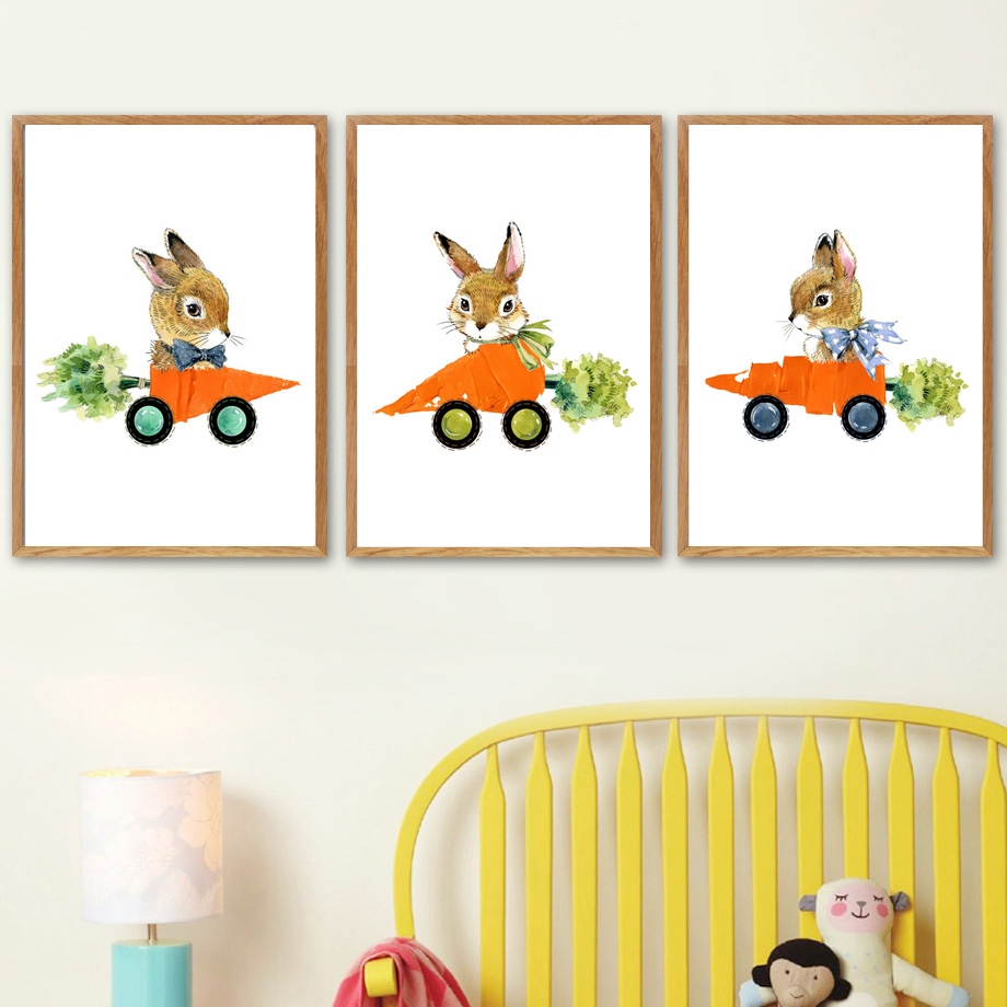 Us 3 04 38 Off Cartoon Rabbit Carrot Car Wall Art Canvas Painting Nordic Posters And Prints Animal Nursery Pictures For Kids Room Decor In