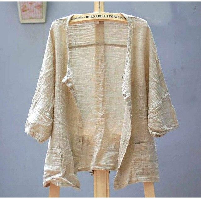 New spring and summer 2020 Women Linen Original Design Llarge Size Women's Shirt Female Blouse cardigan coat  16464 1