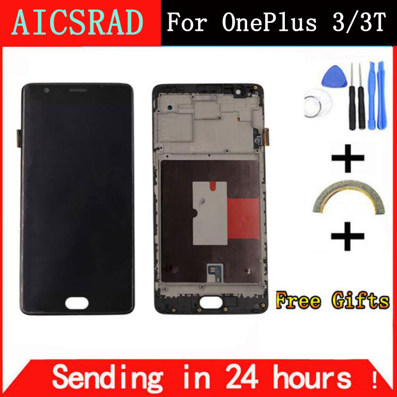 For OnePlus 3T Screen with Frame OnePlus 3T lcd display touch screen digitizer assembly replacement for oneplus 3 one plus three